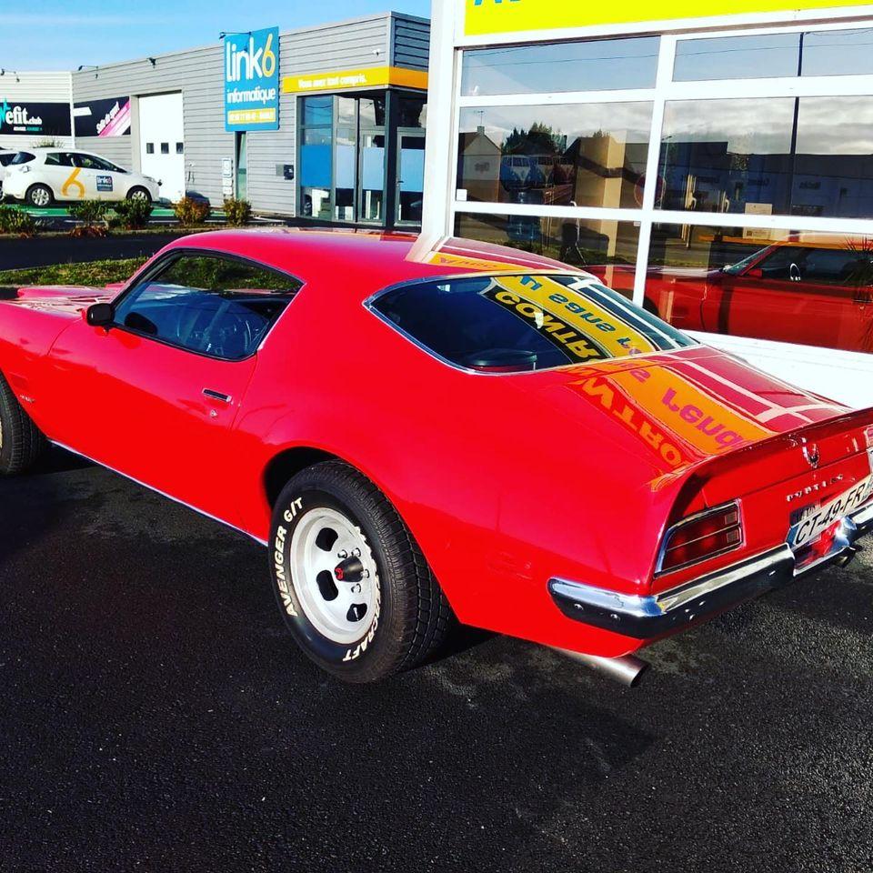 Pontiac Firebird Formula 350 de 1971 Vue arrière contrôlée au Contrôle technique automobile, contrôle technique camping cars et contrôle technique utilitaires jusqu'à 3.5 T à Varades